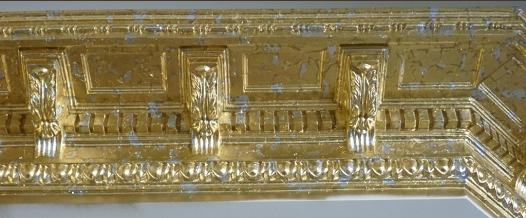 gold and silver leaf on cornice